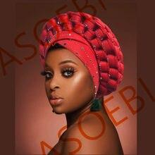 Africano design 2021 auto gele headtie turbante com pedras boné feminino para africano chapéus nigeriano turbante gele melhor venda de automóveis gele
