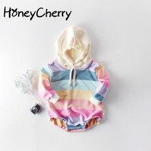 Güz 2020 yeni gökkuşağı uzun kollu elbise bebekler için bebek kız Bodysuits küçük kız giyim moda çocuklar uzun kollu elbise