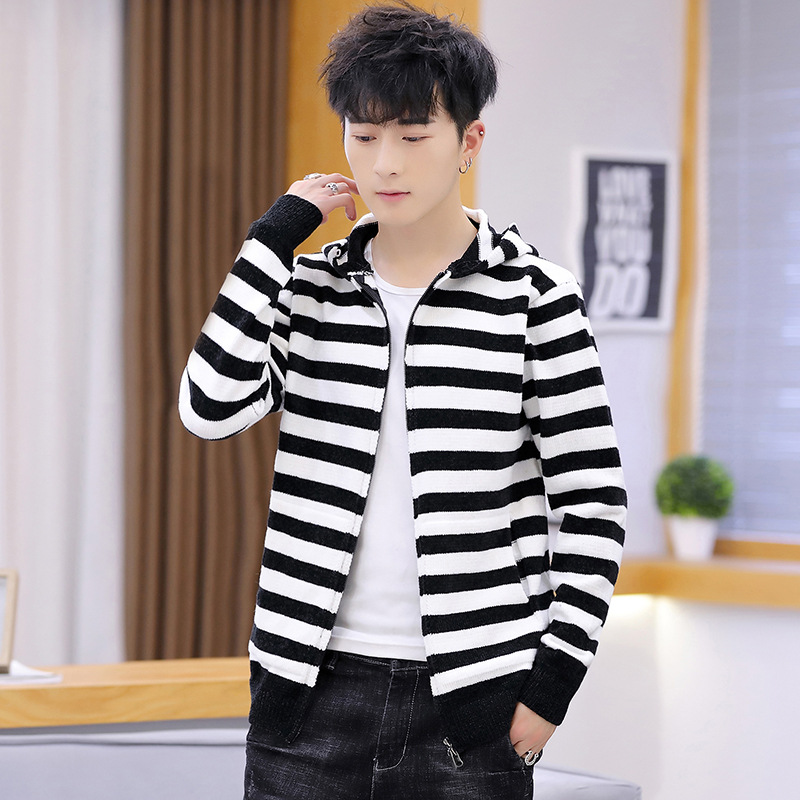Sweater Men Hooded Long Sleeve Winter Leisure Casual O-Neck Cardigan Fashion Zipper Striped Pockets New Mens Sweaters