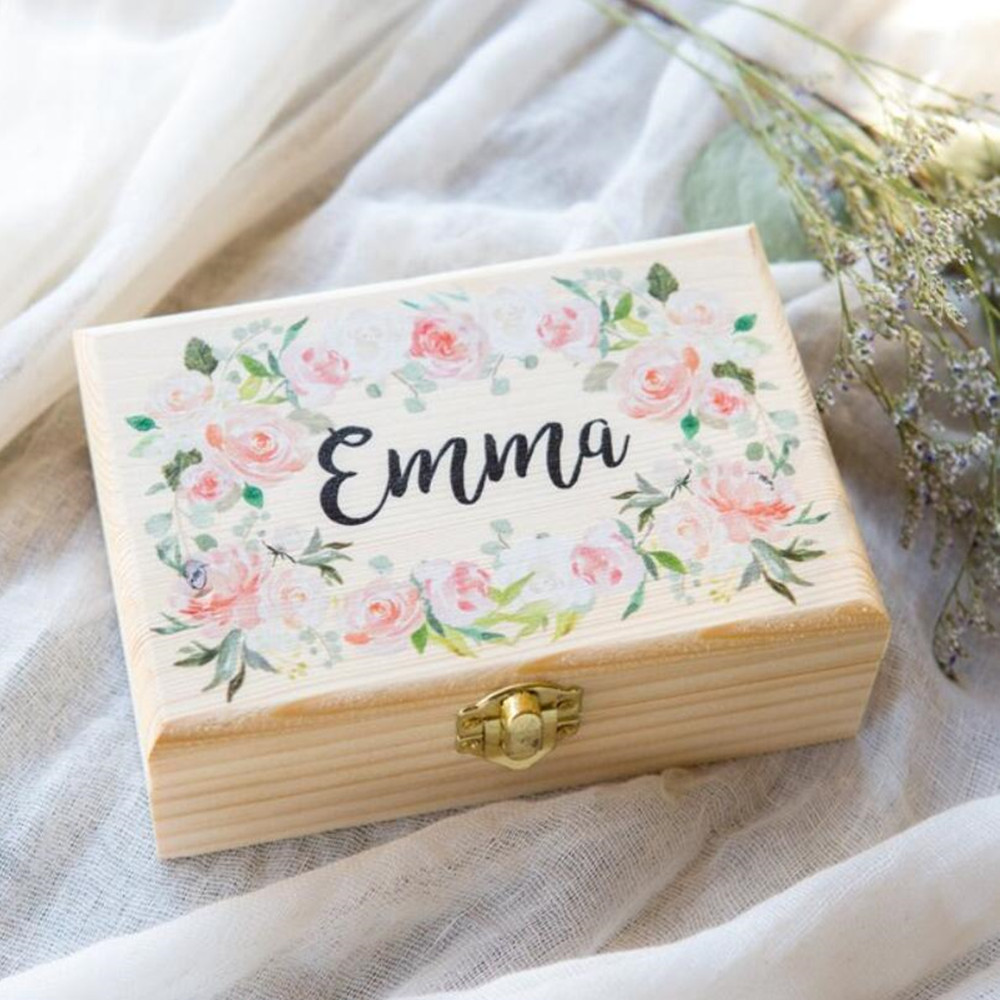 Personalised Name Flower Girl Or Bridesmaids Gift Box Jewelry Box, Custom Wooden Box For Wedding Bridal Party Gift Name Boxes