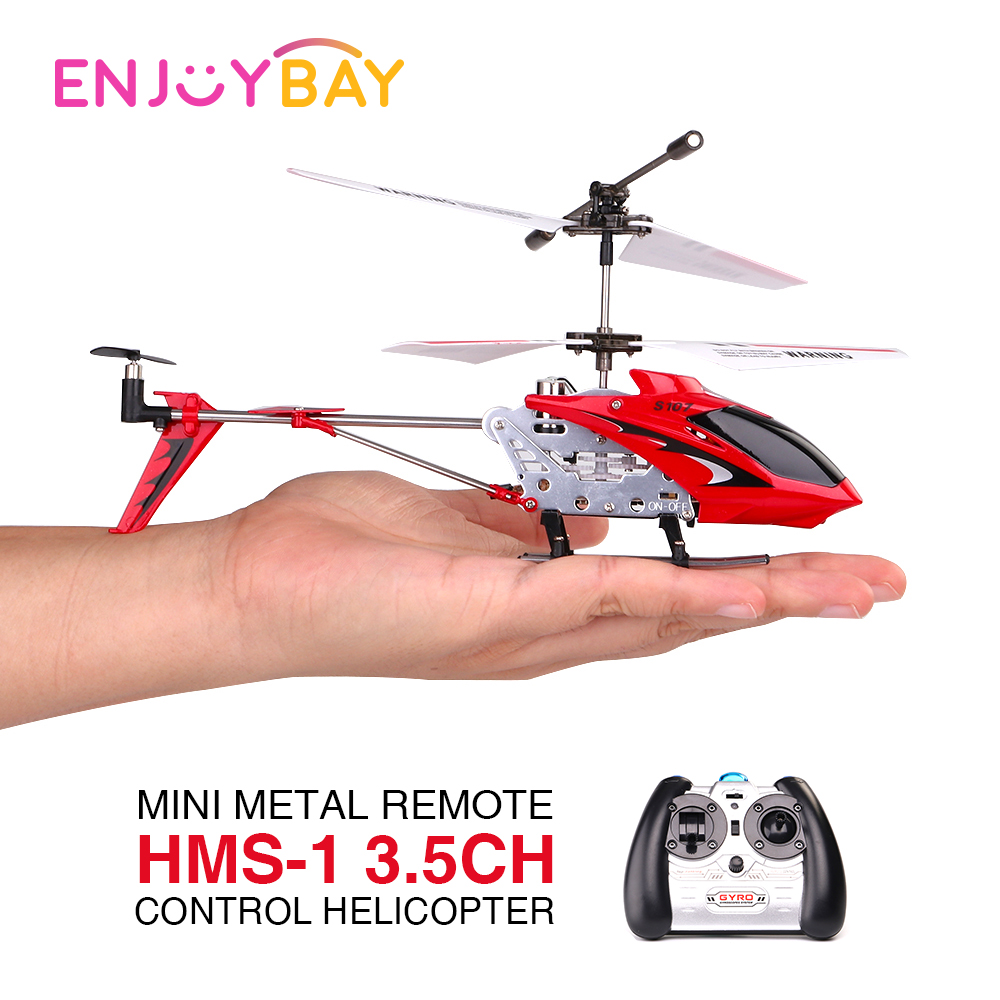Enjoybay HMS-1 3.5CH Mini Metal Remote Control Helicopter Drone Simulation Army RC Helicopters with Remoter Helicopter RTF Toys