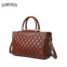 SUWERER genuine leather women bags embossed fashion bag handbags for women 2019 women designer bags women leather shoulder bag недорого