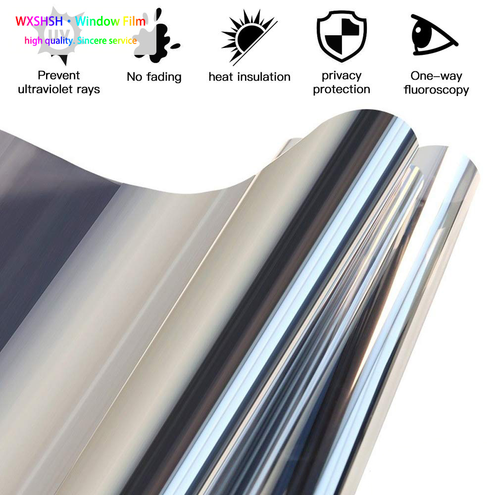 0 9 5 m Window Film One Way Mirror Film Self Adhesive Heat Control Anti UV Window Tint for Home and Office Silver in Decorative Films from Home Garden