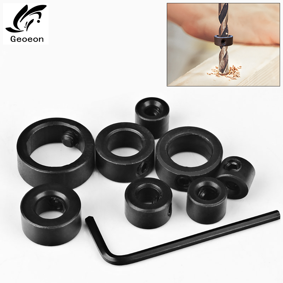 8pcs Bit Drill Limit Ring Woodworking Tools 3-16mm Drill Bits Depth Stop Collars Ring Positioner Drill Locator + Hex Wrench A41