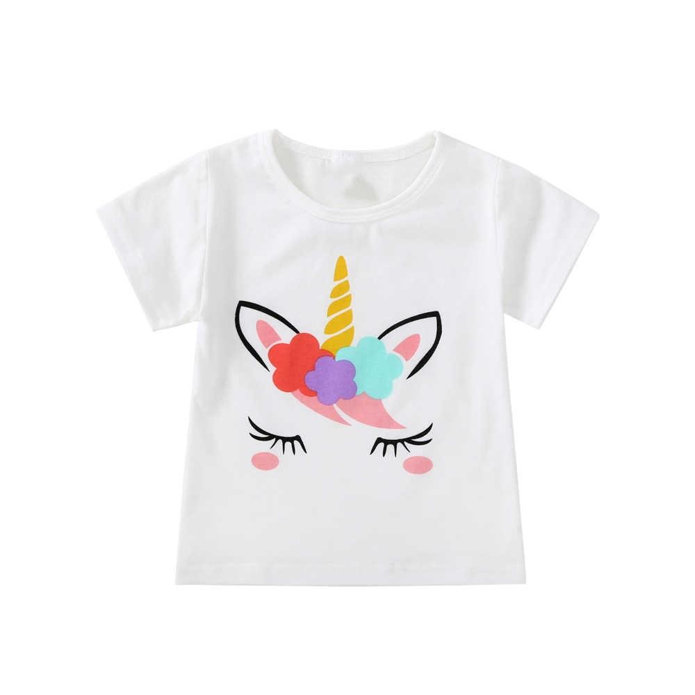เด็กทารกการ์ตูนยูนิคอร์นเสื้อยืดเด็กผู้หญิงฤดูร้อนผ้าฝ้ายแขนสั้นขนาด 1 2 3 4 5 6 ปีเสื้อผ้าเด็กวันเกิด