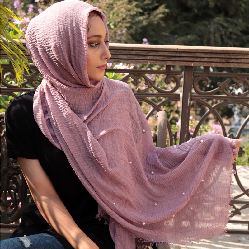 Image 2 - Hot 74 Color Pearl Plain Bubble Cotton Crinkle Scarf Muslim Hijab Lady Long Head Wrap Shawls Scarves 10PCS/Lot-in Women's Scarves from Apparel Accessories