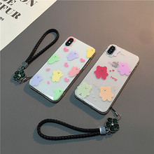 цена на Crystal lanyard wrist strap case for cover iphone xr x xs 8 7 cartoon candy bear soft cover for iphone xs max 8 7 plus 8plus cap