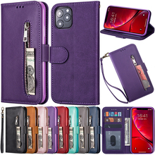 Wallet Flip Phone Case For iPhone 11 12 Pro Max XR XS MAX 6 6S 7 8 Plus X Full Protective Imitation Cowhide Leather Zipper Cover