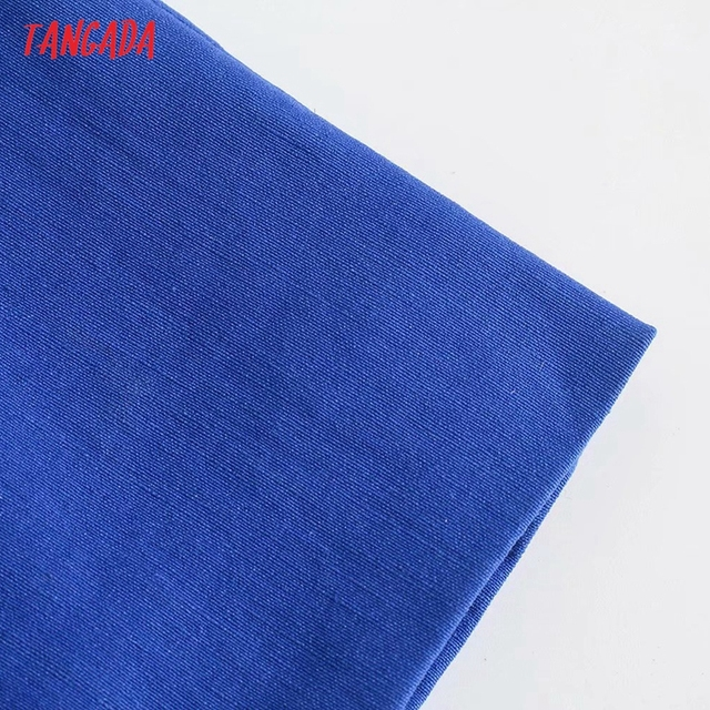 Tangada Fashion Blue Pleated Party Dresses For Women 2021 Backless Female Cotton Dress 3H600 5