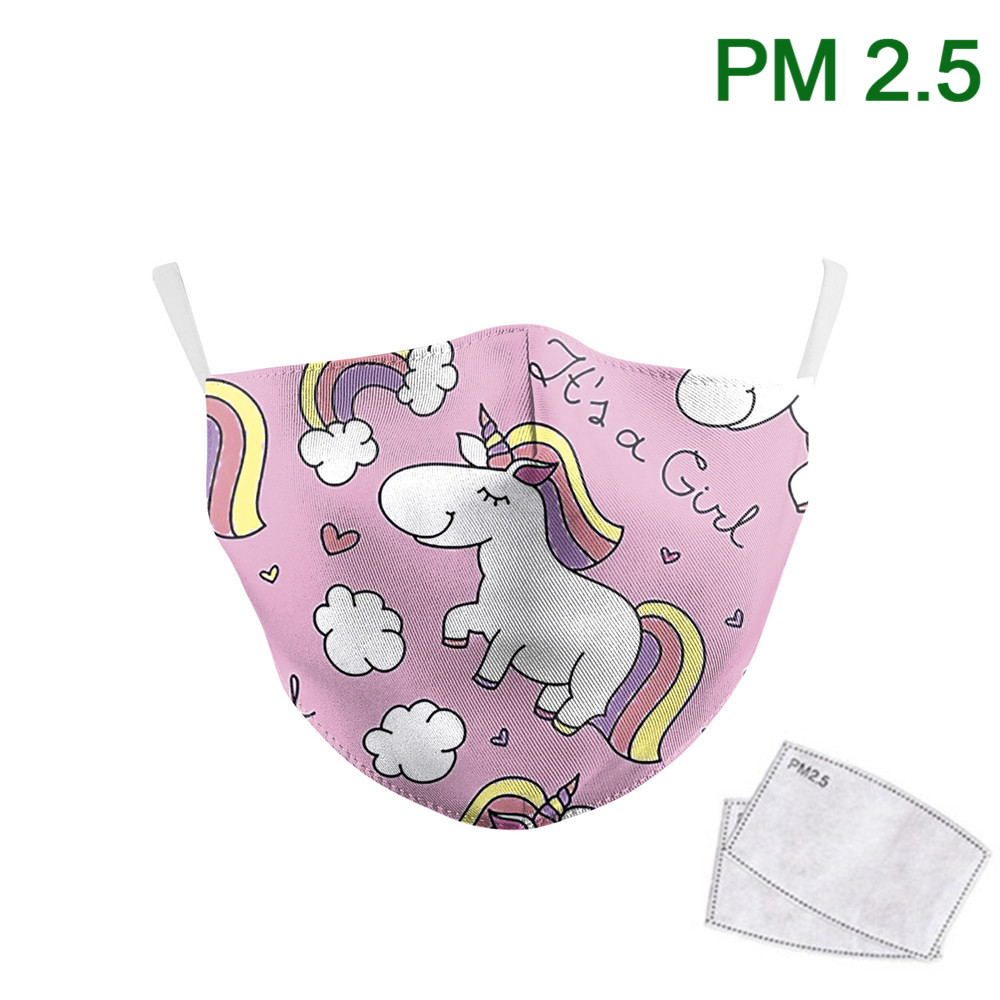 Cute Pink Unicorn Kids Face Masks Print Fabric Masks Washable Earloop Reusable PM 2.5 Filters Proof Dust Children Mouth-Muffle
