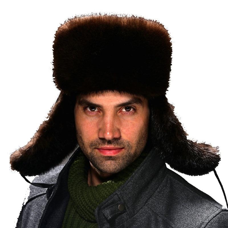 2020 mink hat vintage fashion genuine leather straw hat male lei feng cap winter mink hair