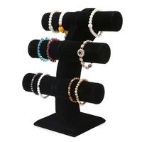 Velvet Level T Bar Bracelet Necklace Jewelry Display Stand for Home Organization