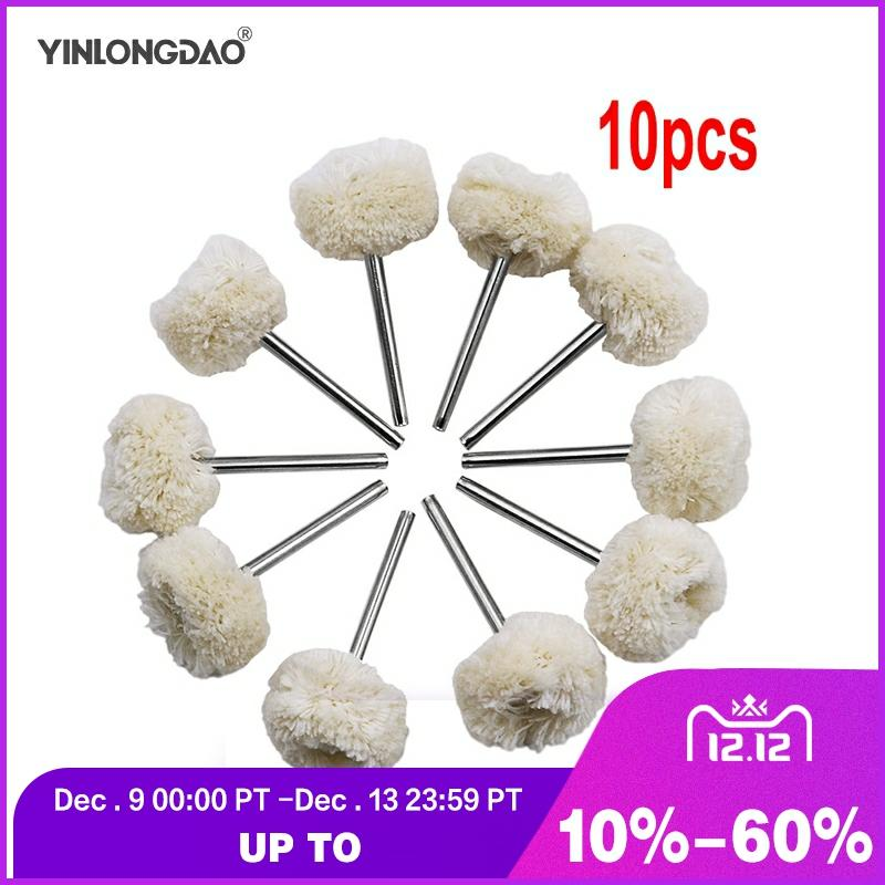 10Pcs Wool Cotton Polishing Buffing Round Wheel Brushes For Grinder Rotary Tools