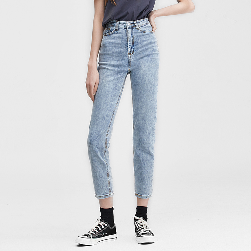 High Waist Was Thin Boyfriend Jeans For Women 2020 New Korean Retro Straight Straight Loose Light Cropped Pants