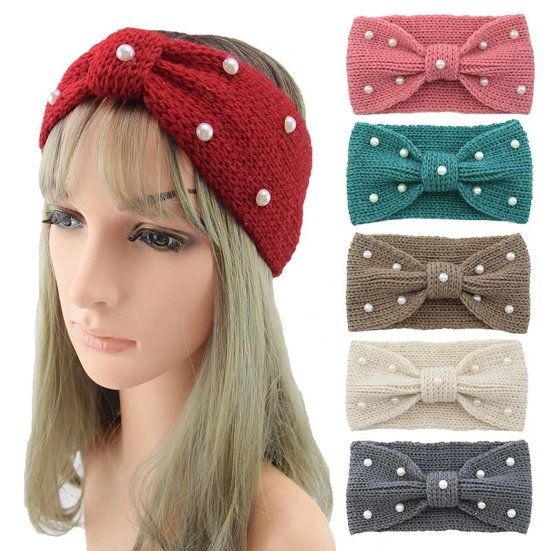 Women Winter Crochet Knit Headband Imitation Pearl Warmer Bow Hairbands Red J4J3