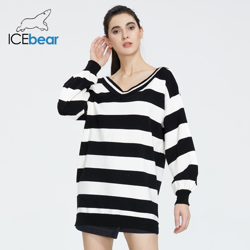 Icebear 2020 Spring New Women's Fashion V-neck Backless Colorblock Casual Sweater Sweater Top AW-429