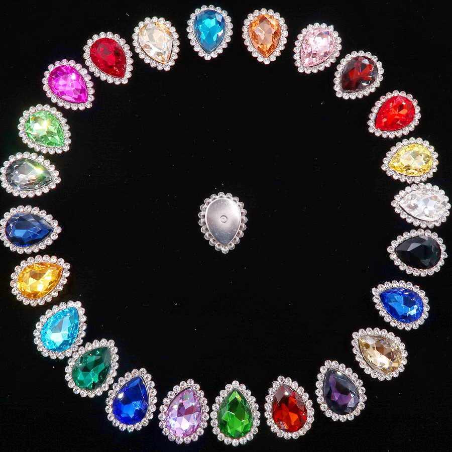 Colorful 7 Dimensioni di Cristallo di Vetro Argento Artiglio Vari Colori Della Miscela di Acqua Goccia a Goccia Cuce Sui Branelli Del Rhinestone Abito da Sposa fai da Te