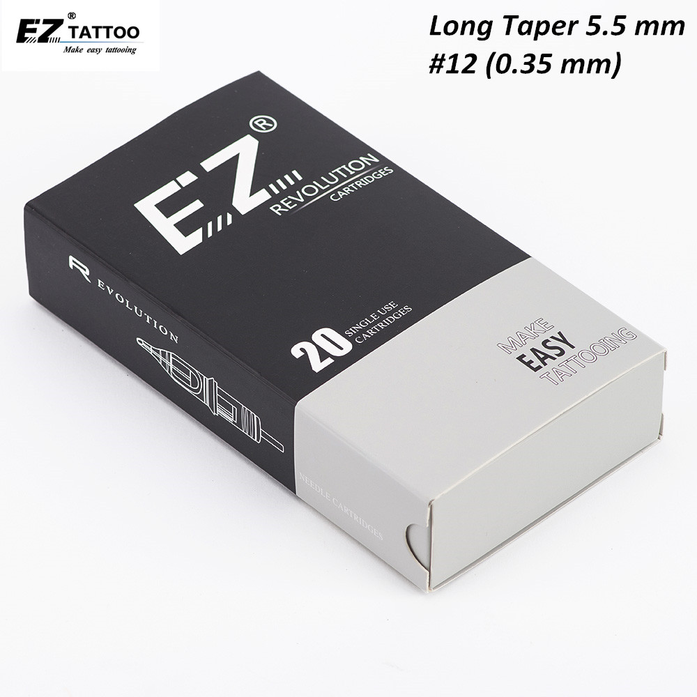 EZ Revolution Cartridge Tattoo Needles Round Liner Long Taper Tattoo Needles Compatible With Cartridge Tattoo Machine & Grips