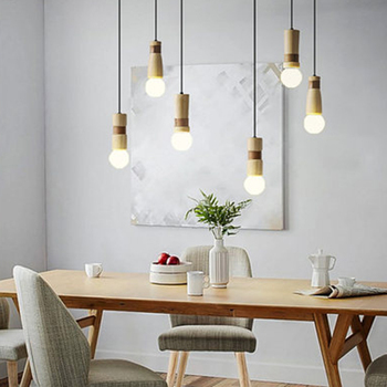 Modern LED Pendant Lamp Solid Wood Pendant Lights Lighting Nordic Loft Bar Living Room Lamp Bedroom Bedside Decor Light Fixtures