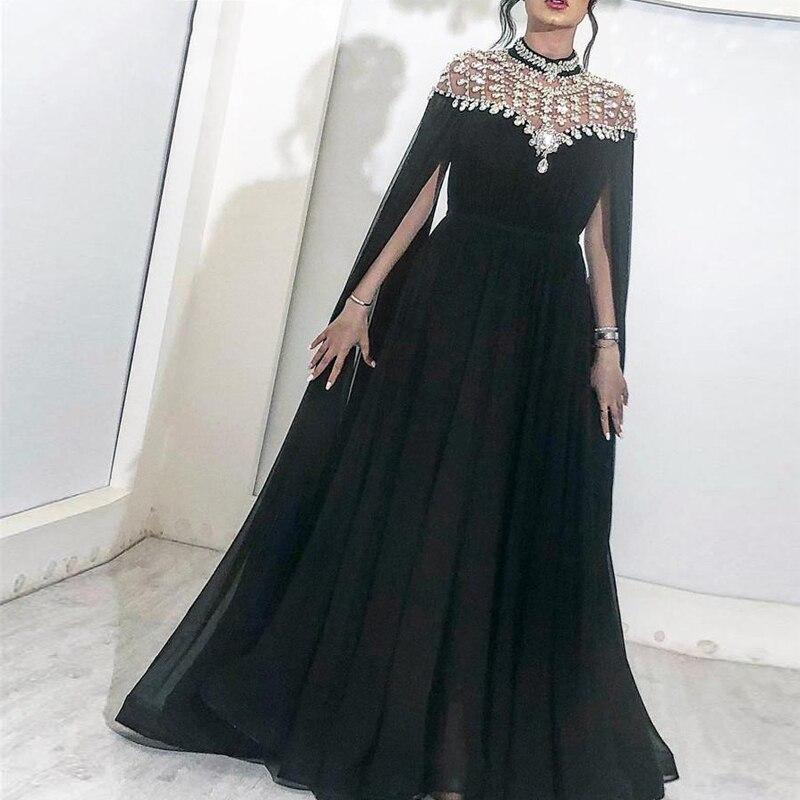 Arabic Evening Dresses High Neck Caped Crystals Chiffon Dubai Kaftan Saudi Beaded Sparkly Black Long Evening Gown Prom Dress