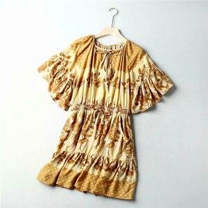 Image 3 - 빈티지 세련된 여성 히피 꽃 프린트 새시 탄성 허리 보헤미안 미니 드레스 숙녀 플레어 슬리브 Boho 드레스 vestidos