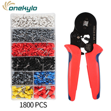 цена на Adjustable Terminal Crimping Pliers Automatic Cable Wire Stripper Stripping Crimper Tool with 1800 Terminals Kit