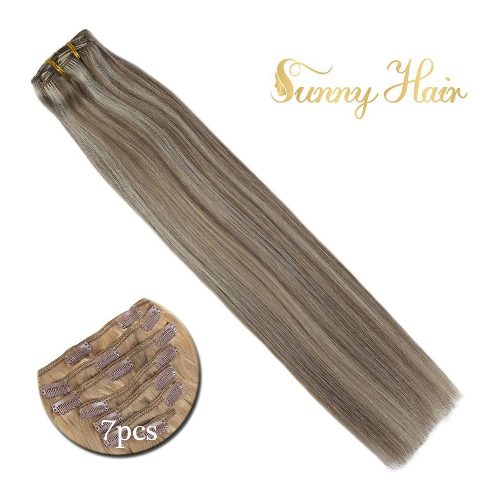 VeSunny Clip In Hair Extensions Human Hair 7pcs Clip On Extensions Highlighted Color Brown Mix Blonde #20/60