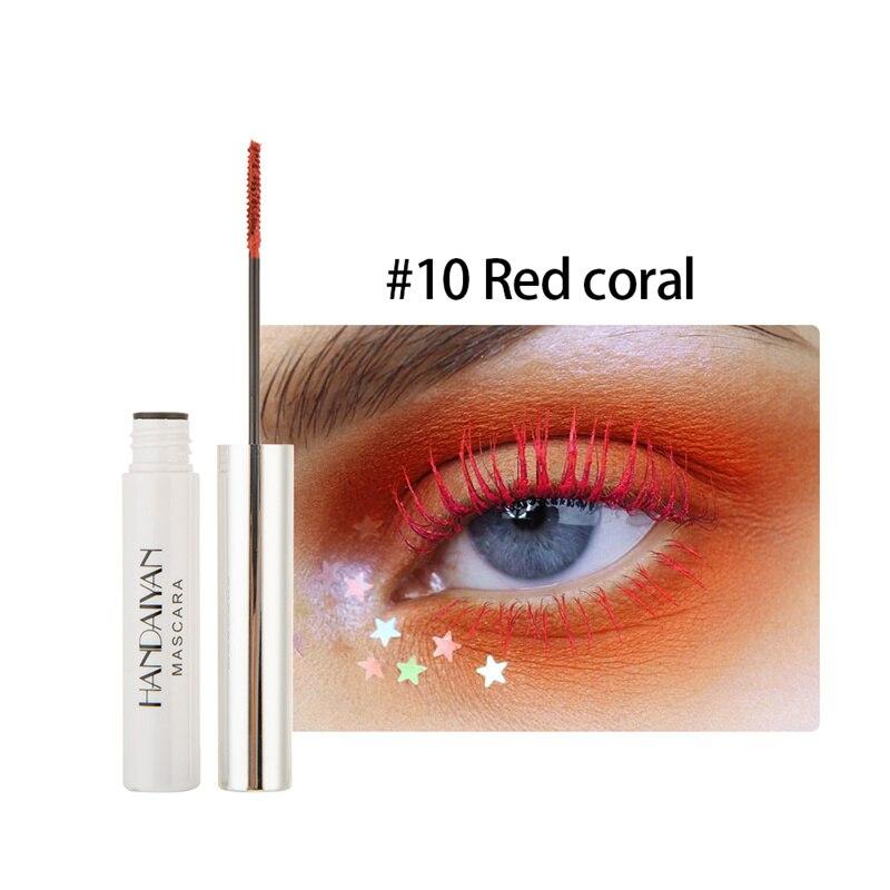 Цветная тушь водостойкие ресницы, Подкручивающая, удлиняющая, густой объем, макияж, ресницы для глаз, быстро сохнут, стойкий макияж для красоты - Цвет: 10