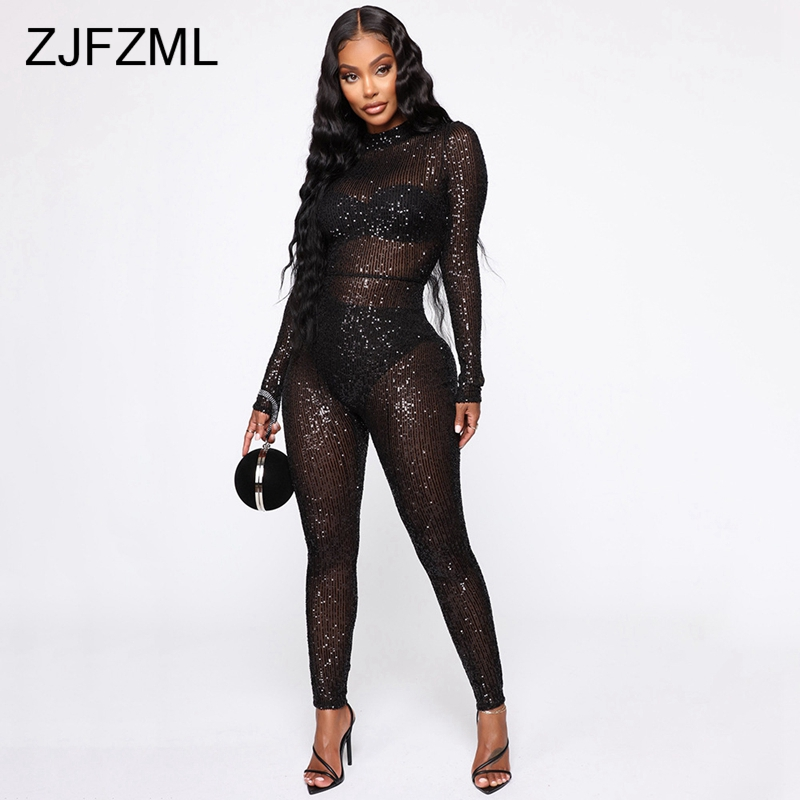 Sexy Club Sequin Rompers Womens Jumpsuit Stand Collars Skinny Black Transparent Playsuits Party Bodycon Long Sleeve Bodysuit