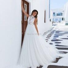 Трапециевидные Свадебные платья 2019 года с высоким воротом без рукавов с кружевным орнаментом, пышное свадебное платье со шлейфом Vestido De Novia, большие размеры