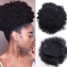 Afro Afro Afro puf at kuyruğu İpli Chignon postiş kısa sentetik Kinky kıvırcık sahte saç Bun Updo klipsli postiş