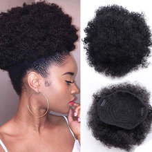 Cola de Caballo Afro con cordón, postizo, postizo, corto, sintético, rizado, postizo, Clip, extensiones de cabello