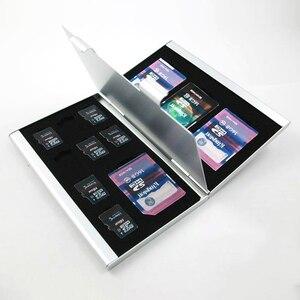 Image 3 - อลูมิเนียมอลูมิเนียมสีดำ Micro สำหรับ SD MMC TF การ์ดหน่วยความจำกล่องเก็บกล่องป้องกันกรณี 4x สำหรับ SD Card 8 X micro SIM Card