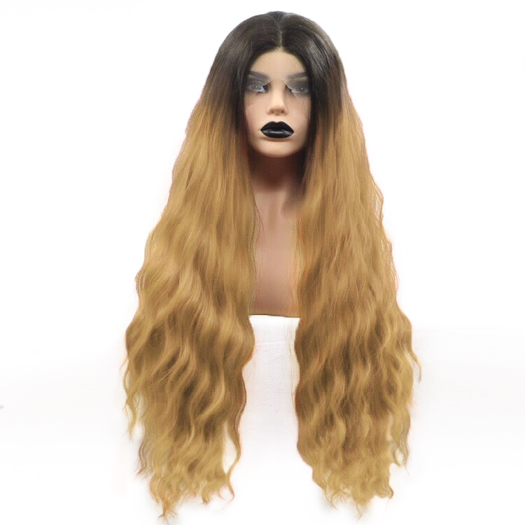 FREEWOMAN Curly Ombre Wigs For Black Women Synthetic Lace Front Wigs Kanekalon Cosplay Wigs Fake Hair Blonde Black Brown Grey