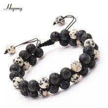 8mm Lava Rock Bead Bracelet for Men Women Adjustable Double Braided Rope Essential Oil Diffuser Natural Stone Bracelets