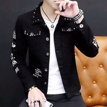 цена на Fashionable black denim jacket men Korean version slim denim clothes students handsome denim jacket hip hop