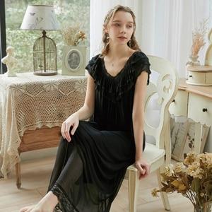 Image 2 - Roseheart Women Pruple Black Sexy Sleepwear Night dress Homewear Lace Princess Nightwear Luxury Nightgown Female Gown