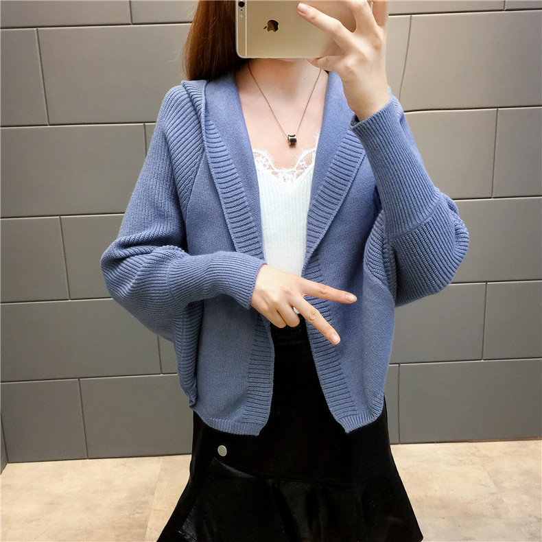 2019 Free send New style Korean loose and comfortable Autumn women Cardigan Sleeve of bat Hooded Sweater coat 149
