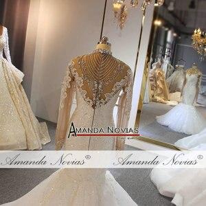 Image 2 - Роскошное Свадебное платье с длинными рукавами и бусинами, бренд amanda novias