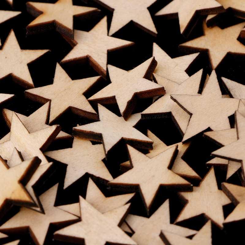Estrellas de madera formas láser corte en blanco adornos artesanía DIY Scrapbooking decoración 72XF