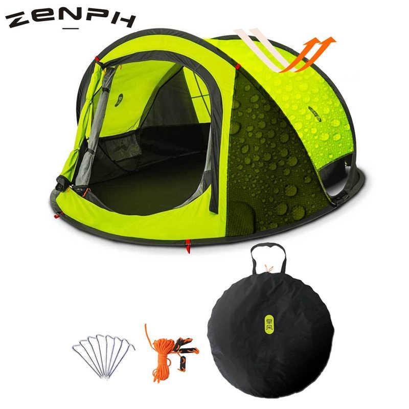 Zenph atmak çadır açık 3-4 kişi otomatik hızlı açık atmak Pop Up çadır su geçirmez çift katmanlı yürüyüş kamp çadır