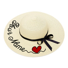 Embroidery Personalized Custom Heart LOGO Your Name Women Sun Hat Large Brim Straw Hat Outdoor Beach hat Summer Autumn Caps 2020