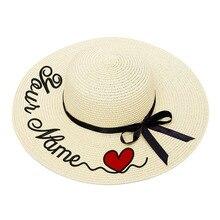 Sombrero de paja con bordado personalizado para dama, gorro de paja con bordado personalizado con logotipo de corazón, con visera grande, perfecto para playa, verano y otoño, 2020