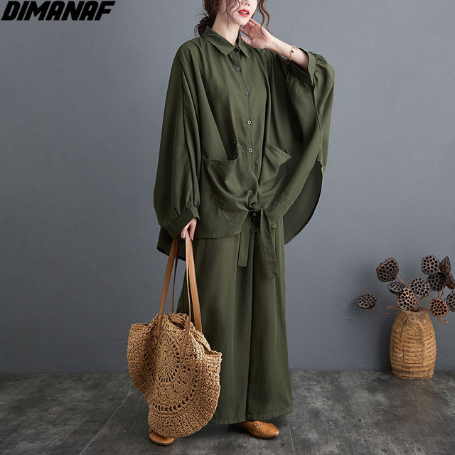 Two Piece Set Casual  Shirts Pockets Loose Long Pants Oversized  1