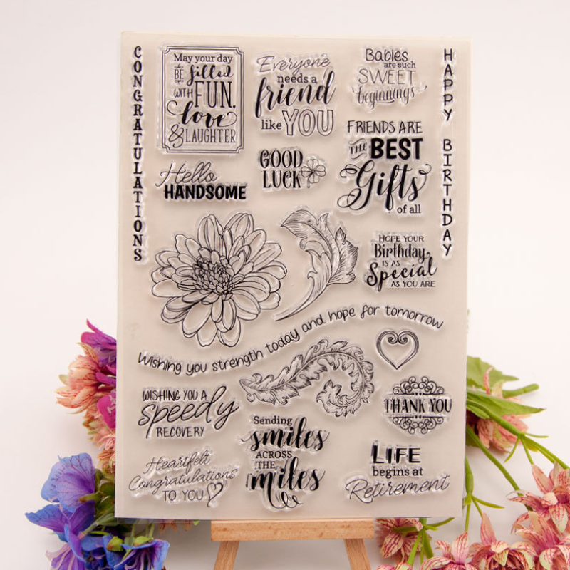 1pc Alphabet Flower Silicone Clear Seal Stamp DIY Scrapbook Diary Coloring Embossing Album Decor Rubber Stamp Handmade Reusable