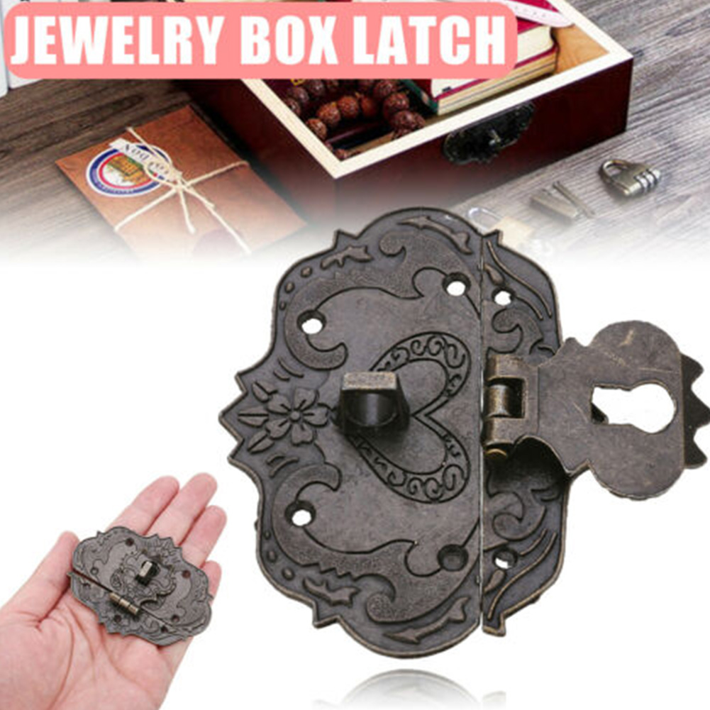 Home Wooden Cases Chests With Screws Jewelry Box Hasp Multipurpose Furniture Buckle Retro Lock Latch Antique Hardware Decor Mini