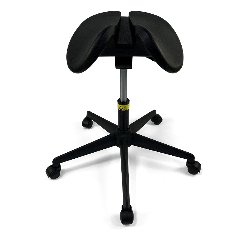 Anatomical Split-Seat Saddle Stool / Dental Contouring PU Foam Seat / Backward-Forward Tilt, Adjustable Height 50-70cm