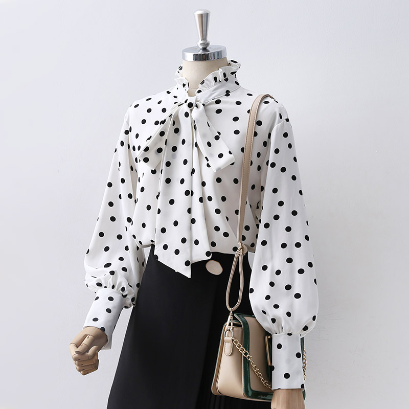 2019 new fashion women's polka dot shirt female long sleeve fashion bow tie OL blusa top