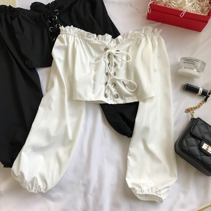 Womens Off Shoulder Top Long Sleeve Ruffle Vintage Blouse With Puff Sleeves Lace Up Ladies Tops Bandage Crop Tops Black White