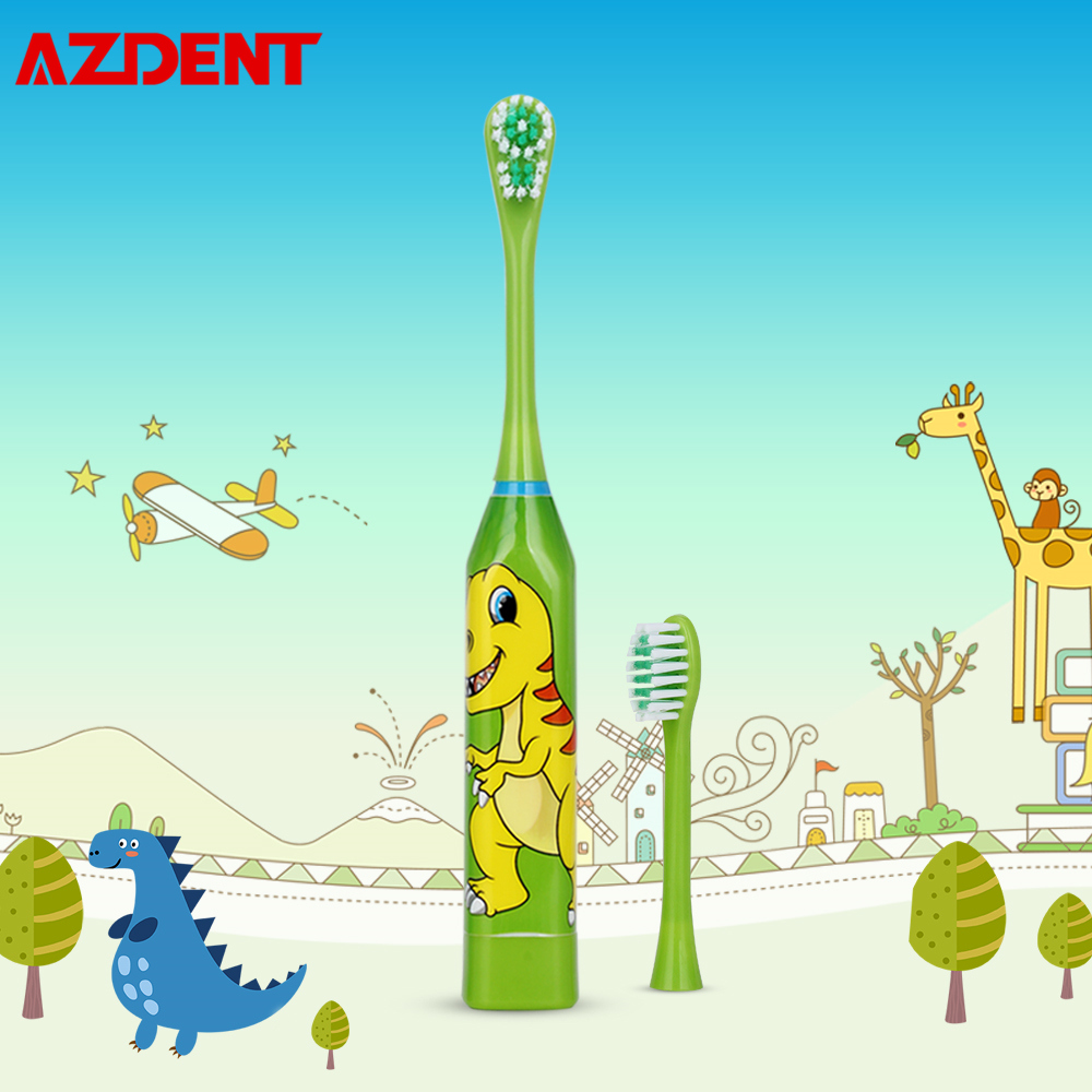 AZDENT Children Electric Toothbrush Cartoon 4 Color Double-side Tooth Brush Heads Kids Electric Teeth Cleaner Brush Oral Hygiene image